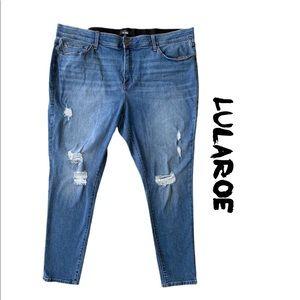 LuLaRoe Medium Wash Distressed Denim Jeans Sz 44